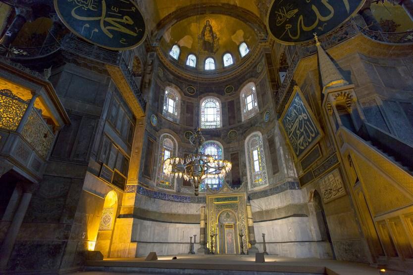 Inside the Hagia Sophia.