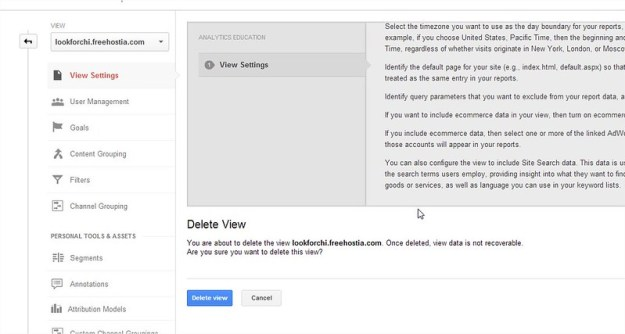 Google Analytic - Delete View - Delete Website