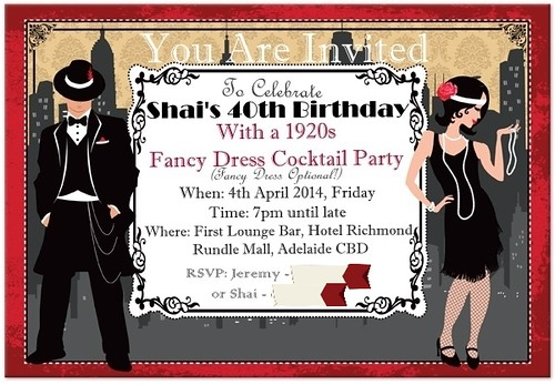 40th Birthday Party Invite in 1920s style