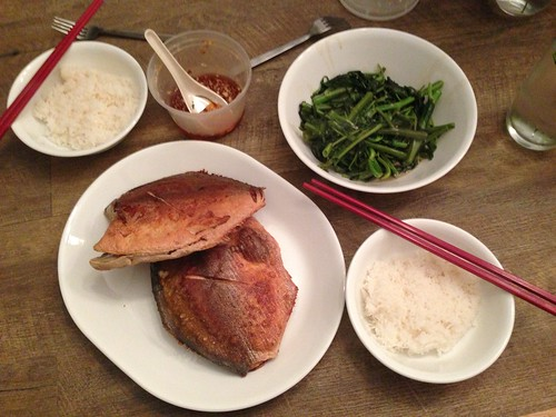 Fried Palmburo fish and stir fried water spinach