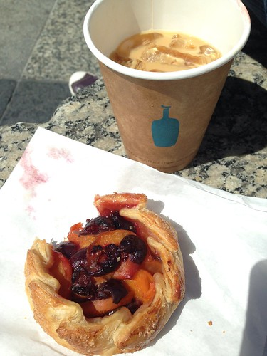 Peach and cherry tart, Blue Bottle New Orleans style iced coffee