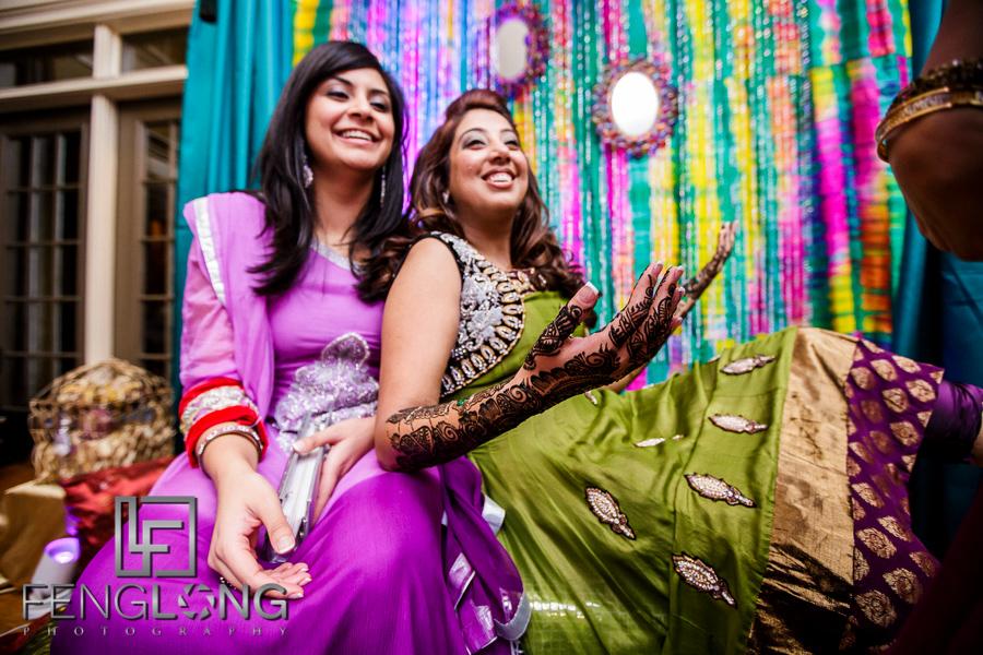 Bride and bridesmaid during mehndi night