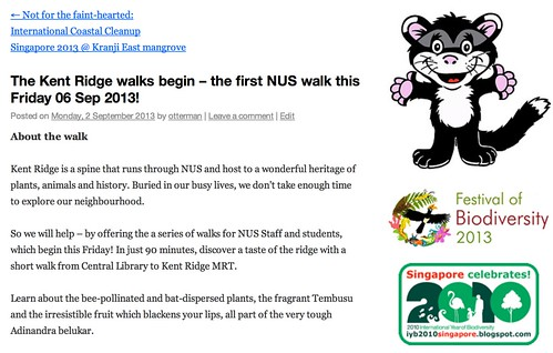 The Kent Ridge walks begin – the first NUS walk this Friday 06 Sep 2013! | Raffles Museum Toddycats!