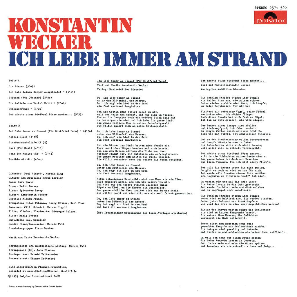 Konstantin Wecker | LP Cover Art