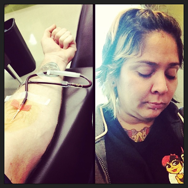 119/365 Donating plasma today for some cash. Apparently I have had too many tattoo sessions to qualify to donate. A little embarrassed and sad. Feelin' a bit dire. #365days