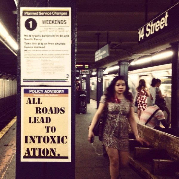 POLICY ADVISORY All roads lead to intoxication. (14th St & 7th Ave; downtown 123)