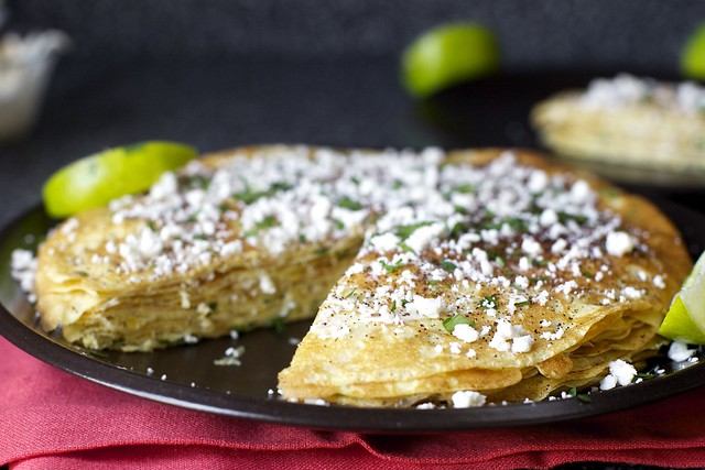 fresh corn crepe stack