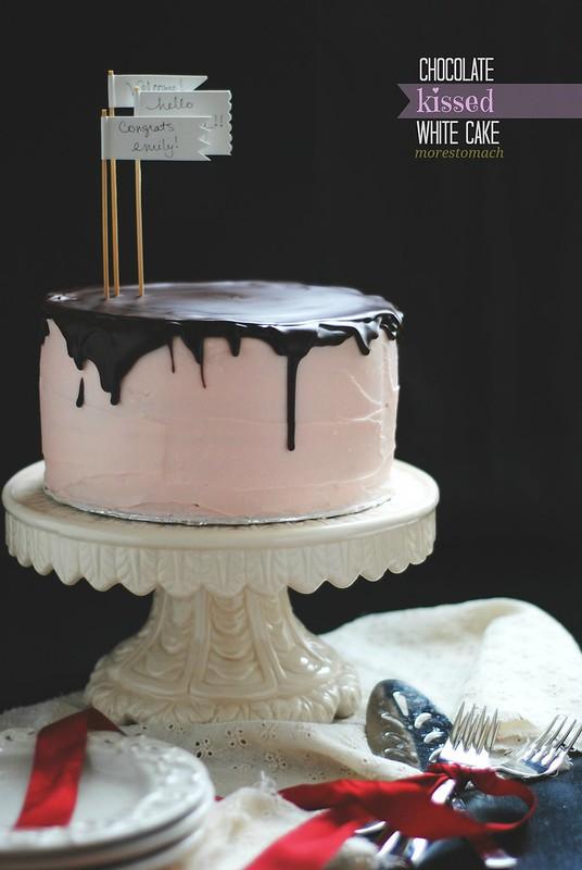 chocolate kissed white cake