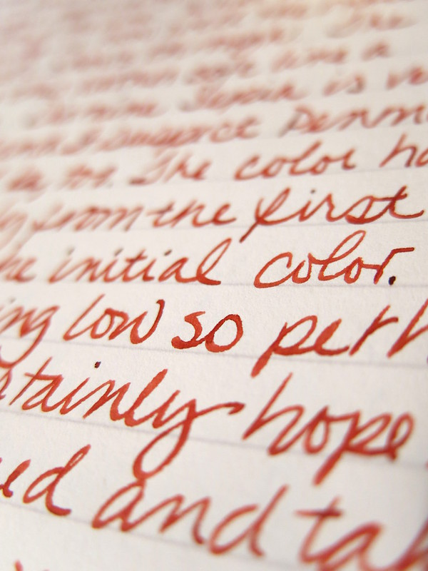 Diamine Monaco Red Ink Written Sample