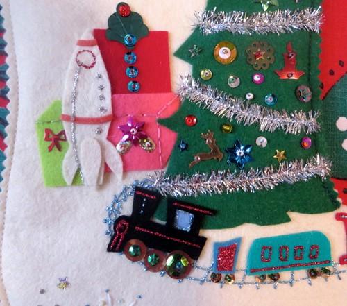 Vintage-style custom stocking, train detail