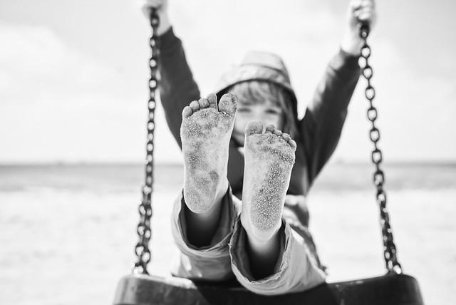 Sandy feet.