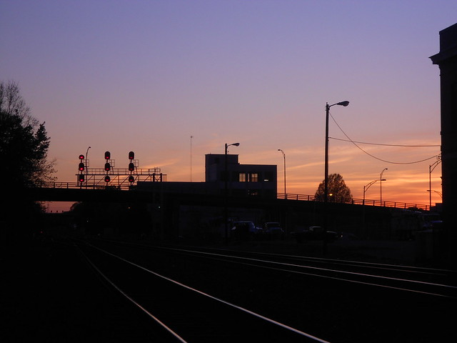 Sunset at the Elm and MLK Drive rail crossing looking westbound