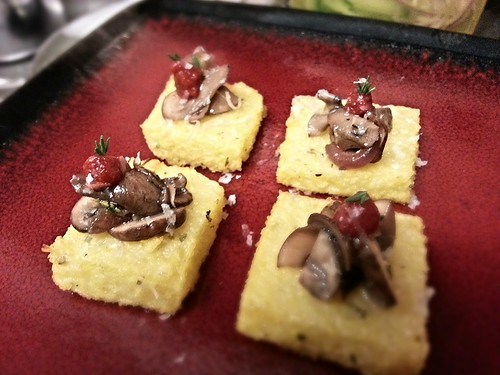 baked polenta, mushrooms, and caramelized red onions by pipsyq