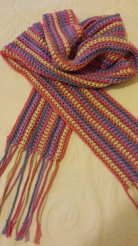 crocheted cotton scarf in hdc