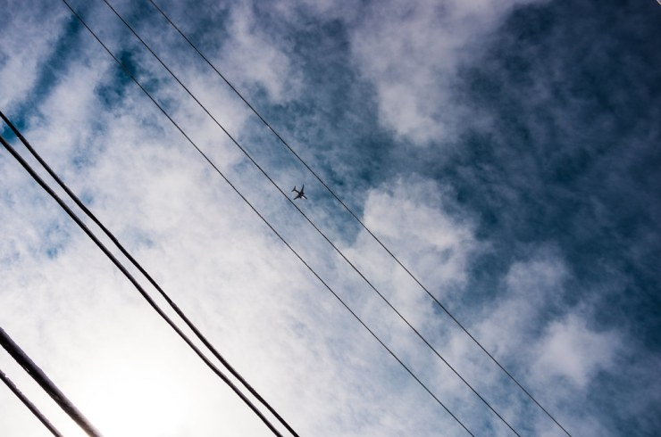 Sky, Wires, and Plane