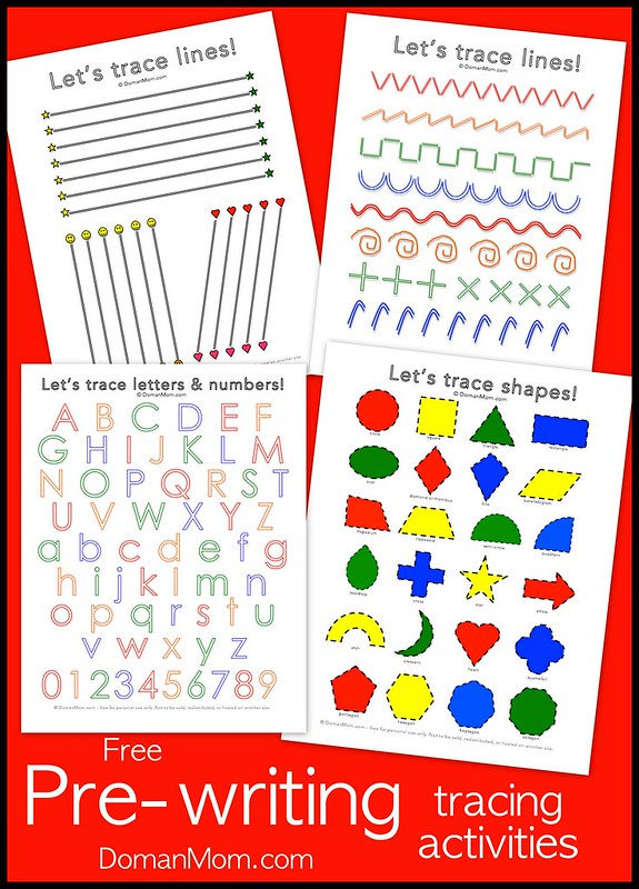 Free Pre-Writing Tracing Activities