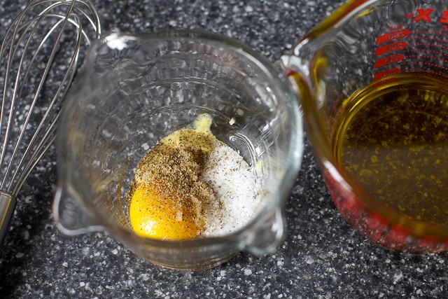 yolk, salt, pepper, dijon, olive oil