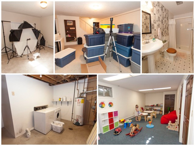 """The basement. Right now it is home to my photography """"studio"""", lots of boxes and bins that need unpacking, another bathroom that I love, the laundry/utility room and the kids' playroom."""