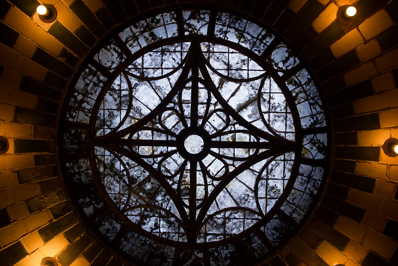 Window atop the arches in the Old City Hall station, NYC.  Canon Rebel T2i, 24mm lens.
