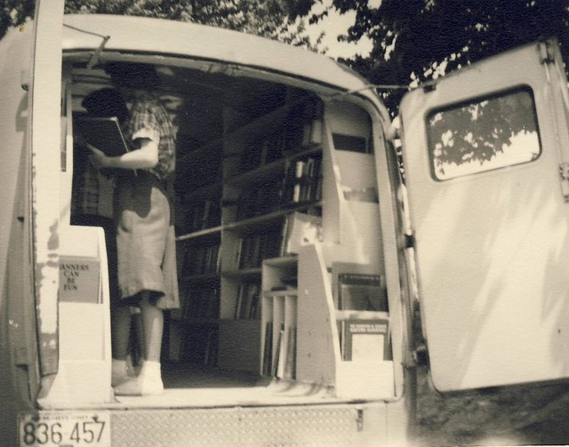 Patrons visiting the bookmobile. (undated)