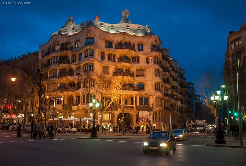 Casa Mila (La Pedrera) - a Gaudi building and architecture in Barcelona, Spain