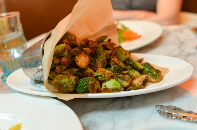 fried brussels with tasso ham