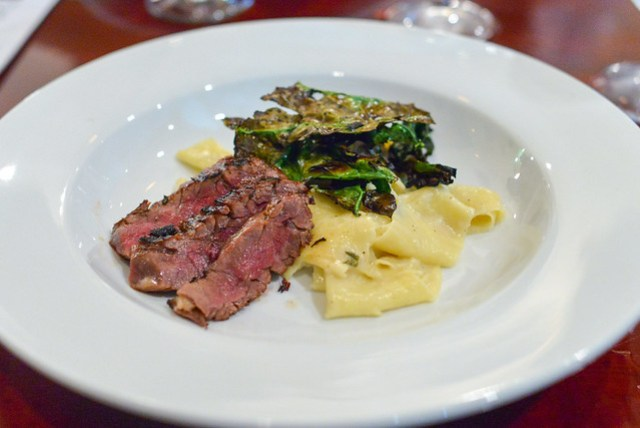 Skirt Steak sake-soy marinade, horseradish bechamel, housemade pappardelle, charred kale