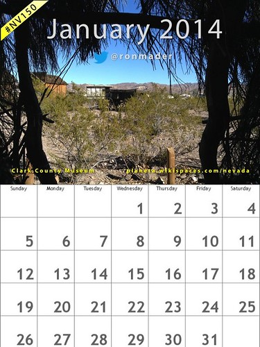 January 2014 Calendar, Clark County Museum, Nevada #nv150 @ClarkCountyNV (Attribution-ShareAlike Creative Commons License)