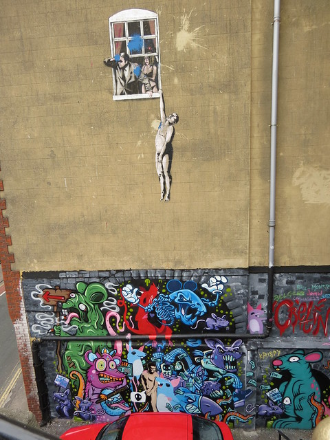 Cretin Collective (below Banksy's Hanging Man), Park Street