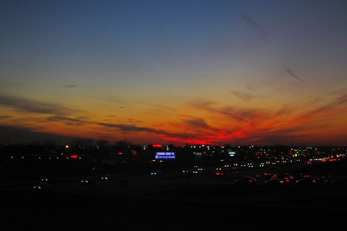 Sunset over the Interstate exit