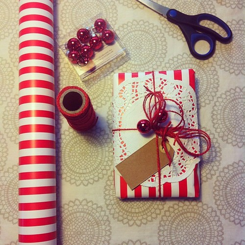 The first gift is wrapped and ready