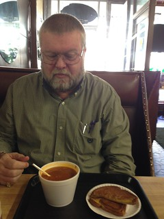 Tommy with Soup and Grilled Cheese at Harold's