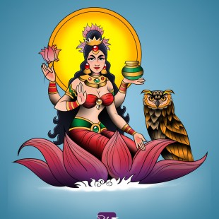 Goddess Lakshmi Tattoo Design
