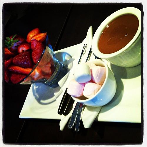Amazing chocolate fondue to share.