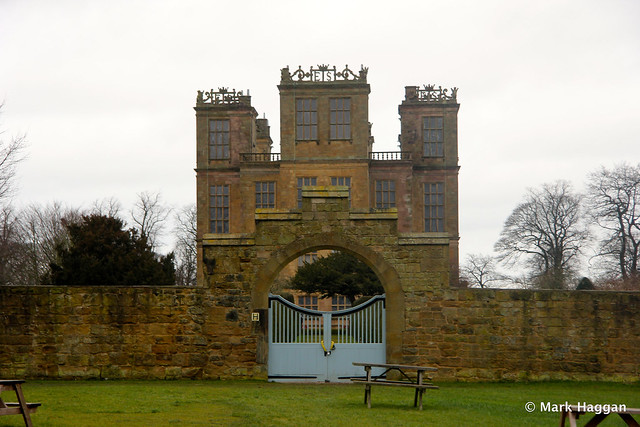 The view of Hardwick Hall from the stables