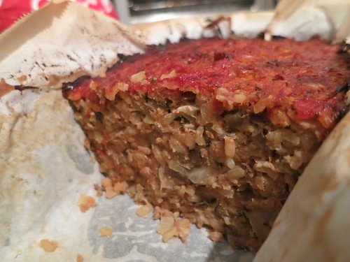 Brown rice and sprouted green lentil loaf