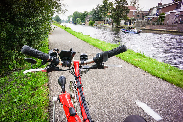 Dutch canalside cycle path