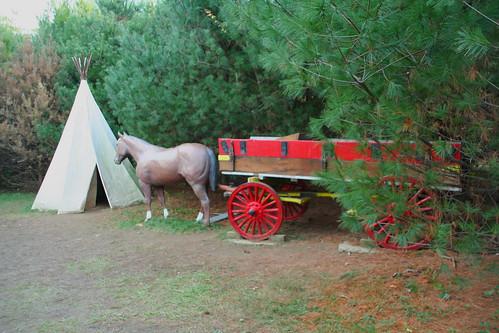 Tepee, Horse, and Wagon