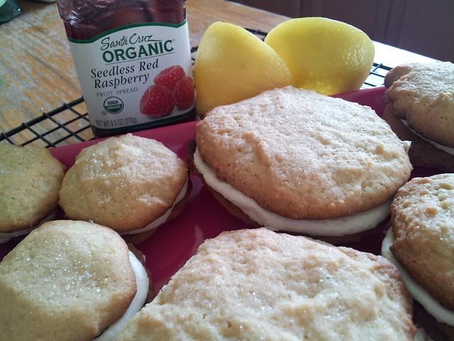 Large and Mini Lemon Cream and Raspberry Cookies