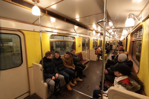 Onboard the replica of the first Moscow Metro train