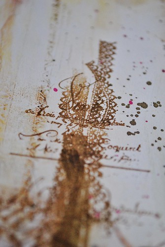 lace stamping, french writing