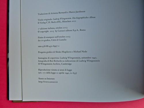 Michael Nedo (a cura di), Una biografia per immagini. Carocci 2013. Progetto grafico di Shoko Mugikura e Michael Nedo. Falcinelli & co. per l'ed. it. Colophon (part.) 1