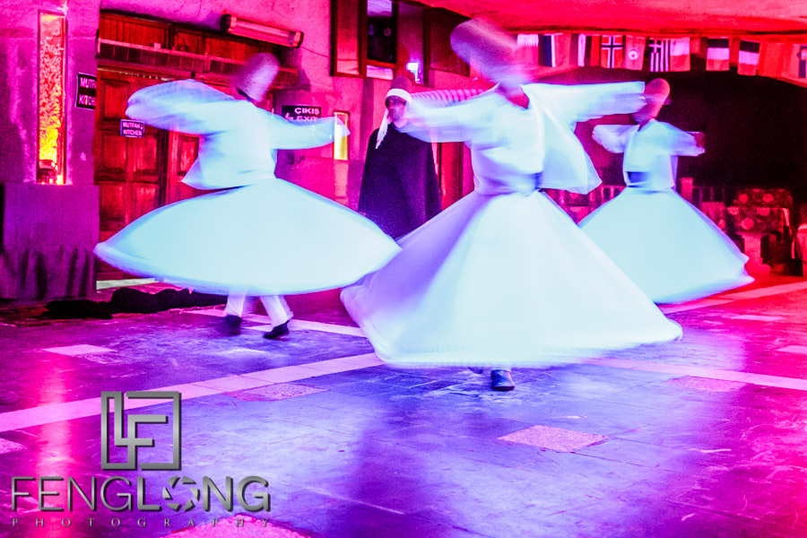 Whirling Dervish Dance at a Turkish Night celebration in Goreme, Turkey
