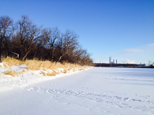 Snowshoeing on the Assiniboine River