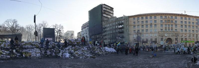 Panorama of Hrushevskoho Street, Kiev, Ukraine.