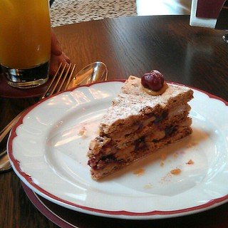 Yesterday's gorgeous hazelnut and cherry cake at Cafe Zedel