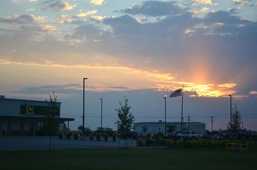 A beautiful fourth of July sunrise at the Pratt John Deere