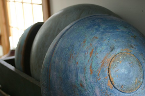 Blue, wooden bowls
