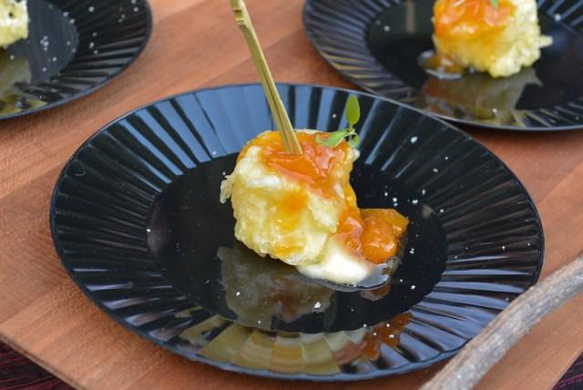 Chaya brie cheese tempura, yellow peach marmalade
