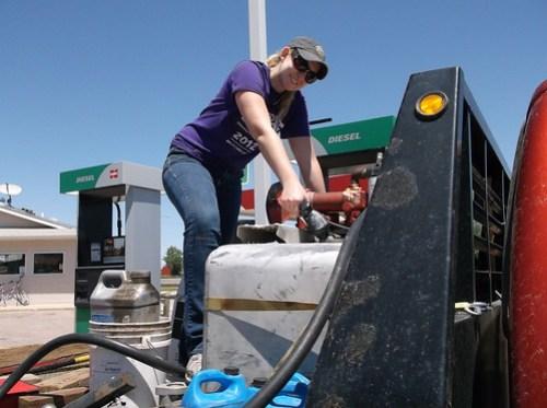 Megan fueling up